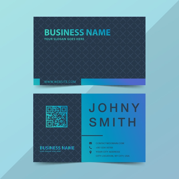 Modern business card in green and blue gradient Premium Vector