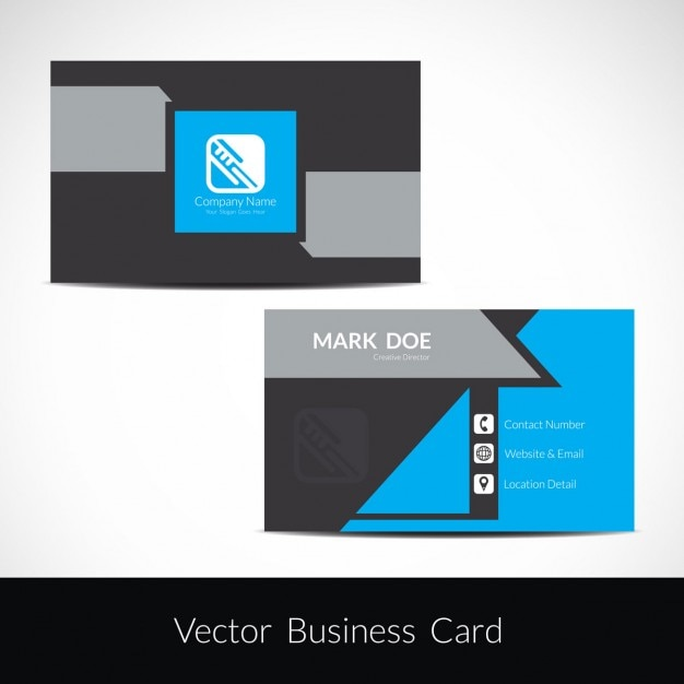 Modern business card in color grey and blue
