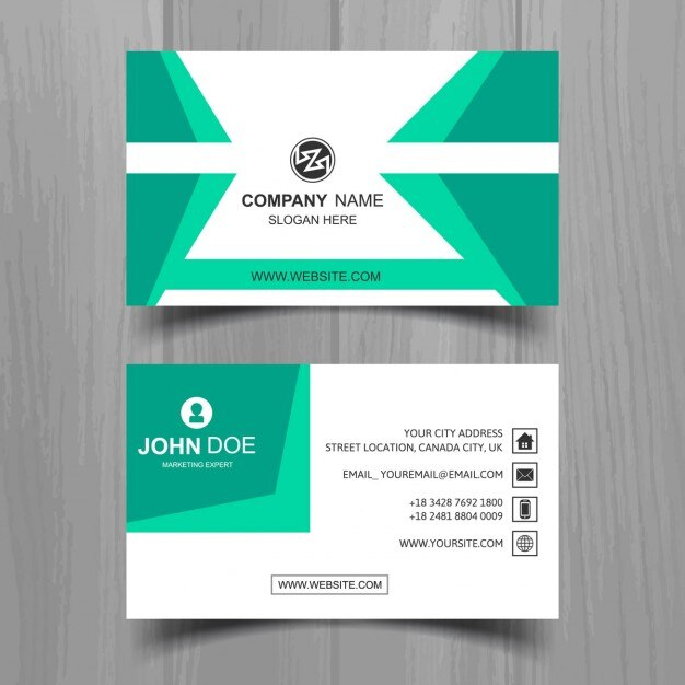 Modern business card in green color vector free download modern business card in green color free vector reheart Images