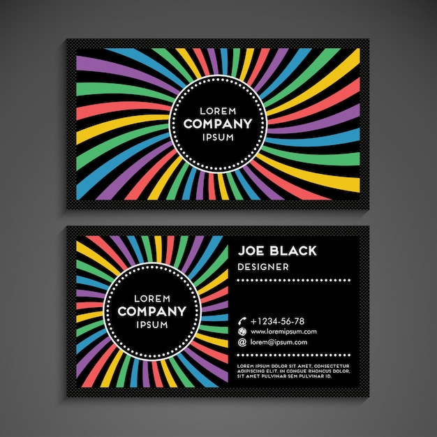 Modern business card in rainbow design vector free download modern business card in rainbow design free vector reheart Images