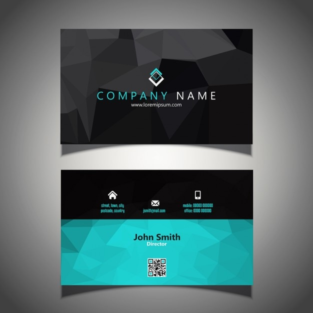 Modern business card in low poly style Free Vector