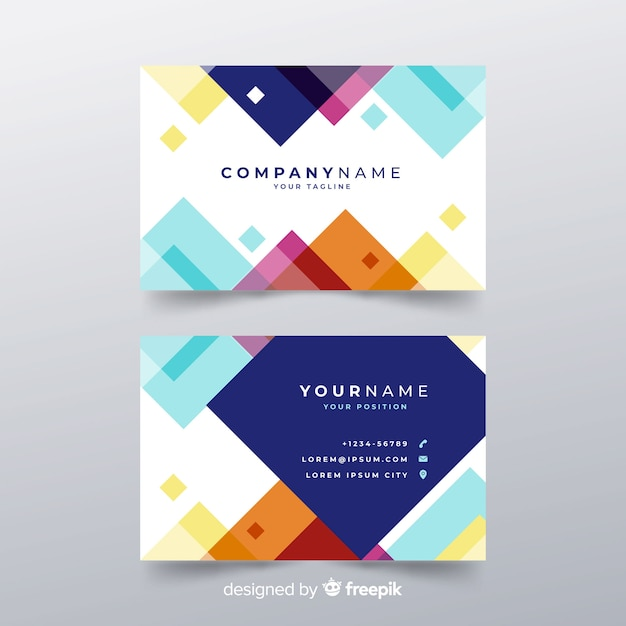 modern business card template in flat design vector free download