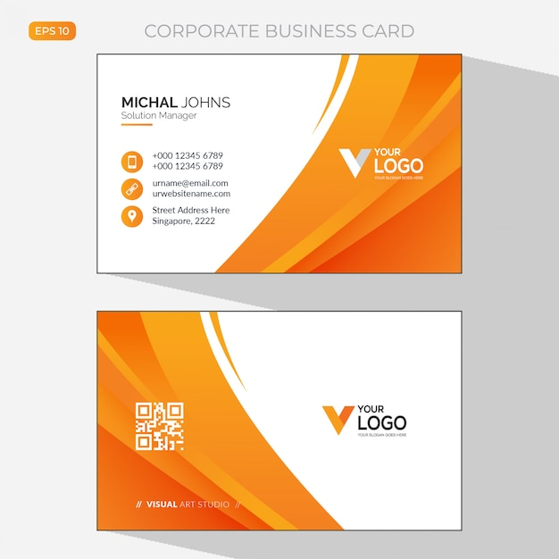 Modern business card template with abstract design Free Vector