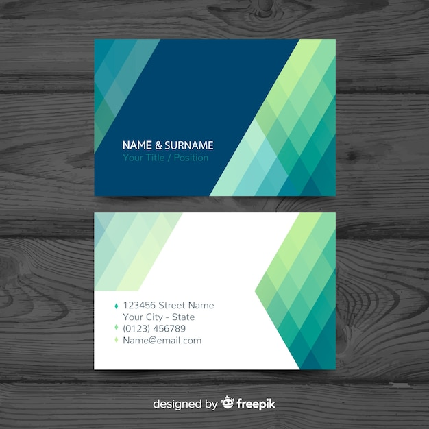 Modern business card template with abstract shapes Free Vector