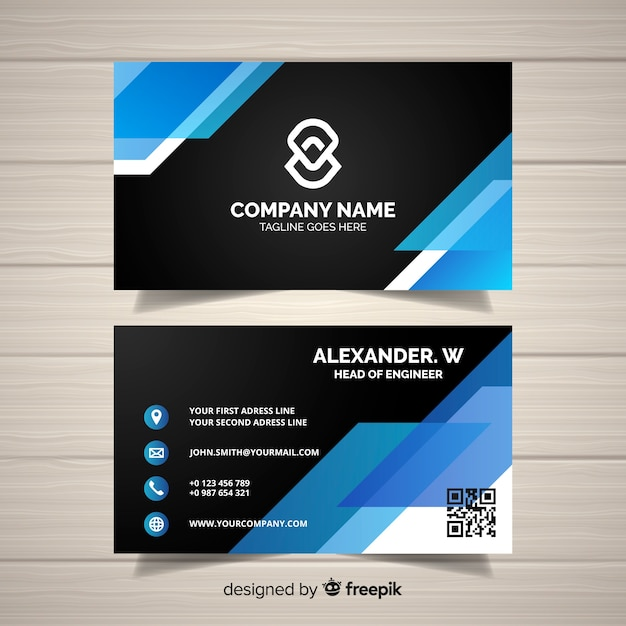Modern Business Card Template With Geometric Design Vector