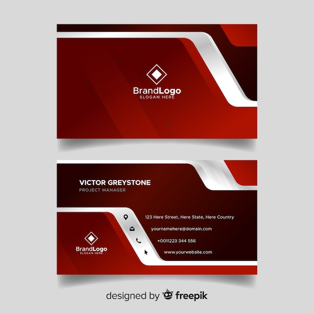 Modern business card template with geometric design Free Vector