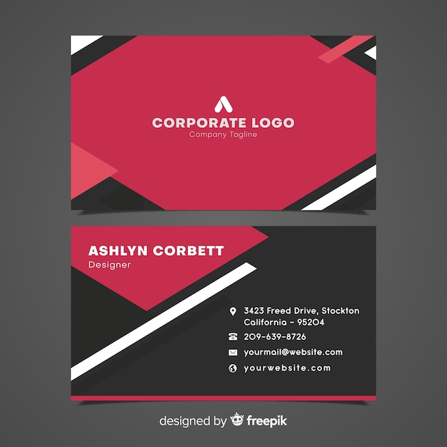 Modern business card template with geometric design vector free modern business card template with geometric design free vector wajeb Images