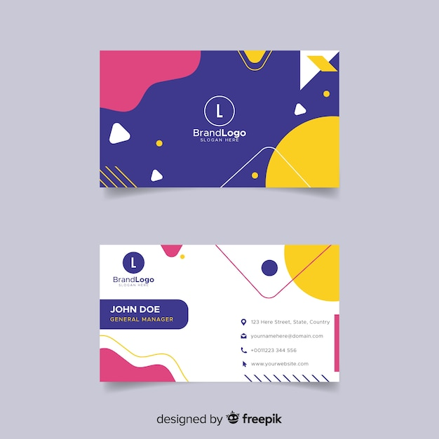 Modern business card template with geometric design vector free modern business card template with geometric design free vector flashek Gallery