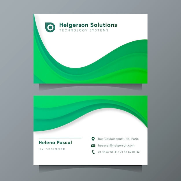 Modern business card template with green abstract shapes Free Vector