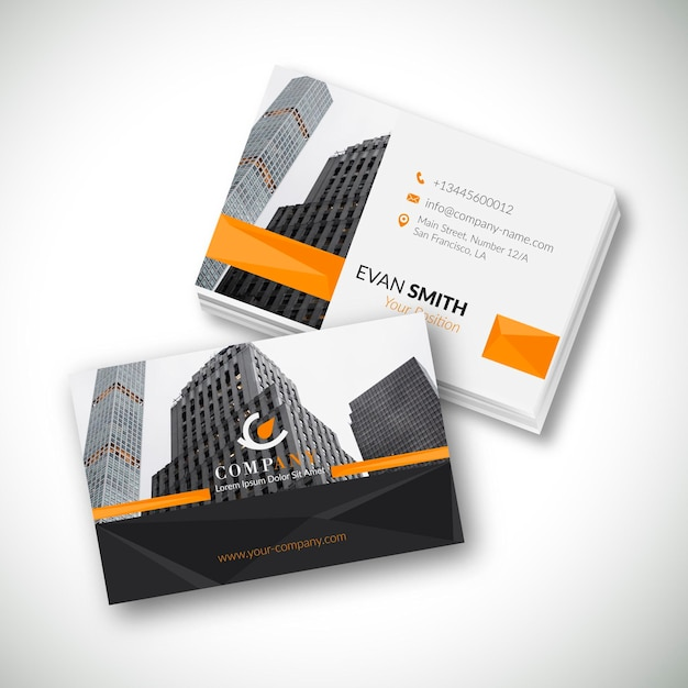 Modern business card template with photo of city Free Vector