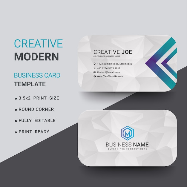 modern business card template with white polygonal