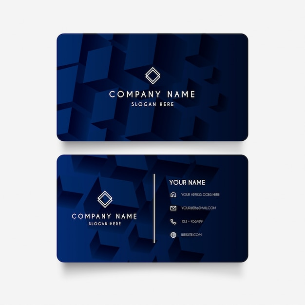 Modern business card with 3d cubes Free Vector