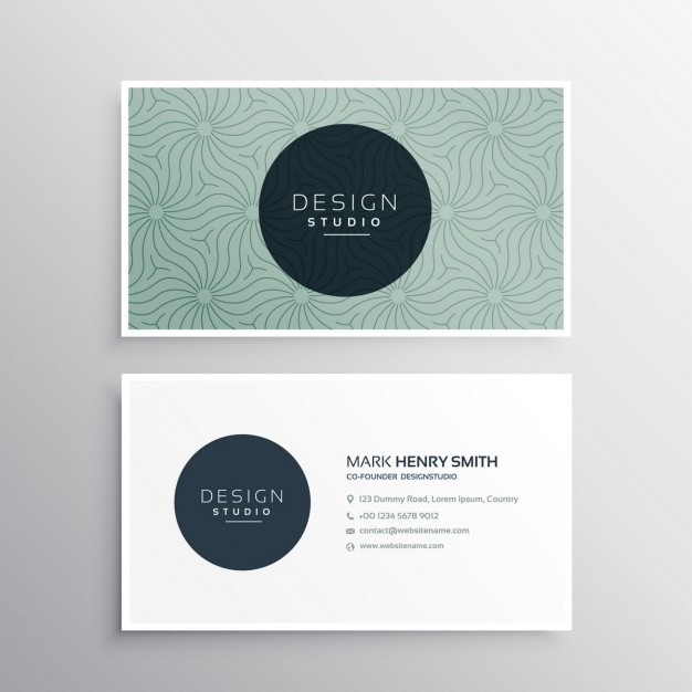 Modern Business Card With A Cute Pattern Vector Free Download - Cute business cards templates free