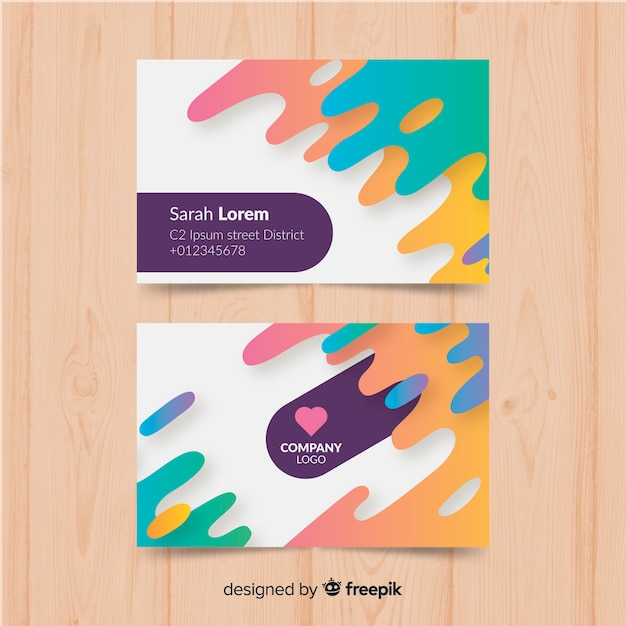 Modern business card with abstract design Free Vector