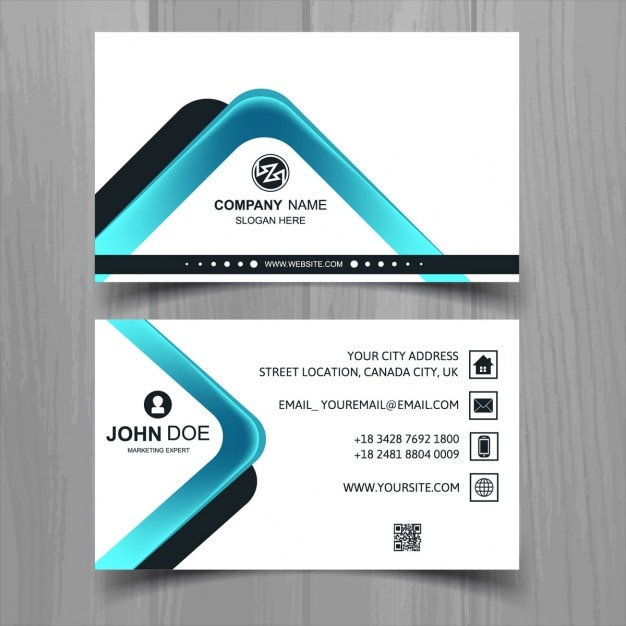 Modern business card with abstract shapes Free Vector