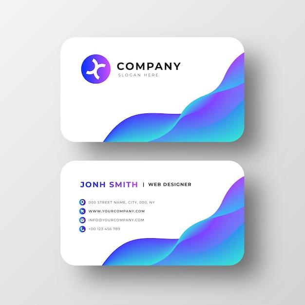 Современная визитная карточка с абстрактными волнами Бесплатные векторы
