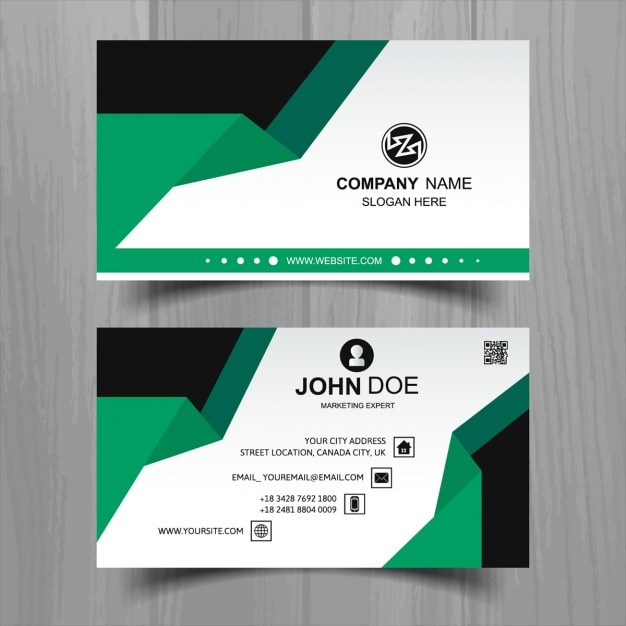 Modern business card with black and green geometric shapes