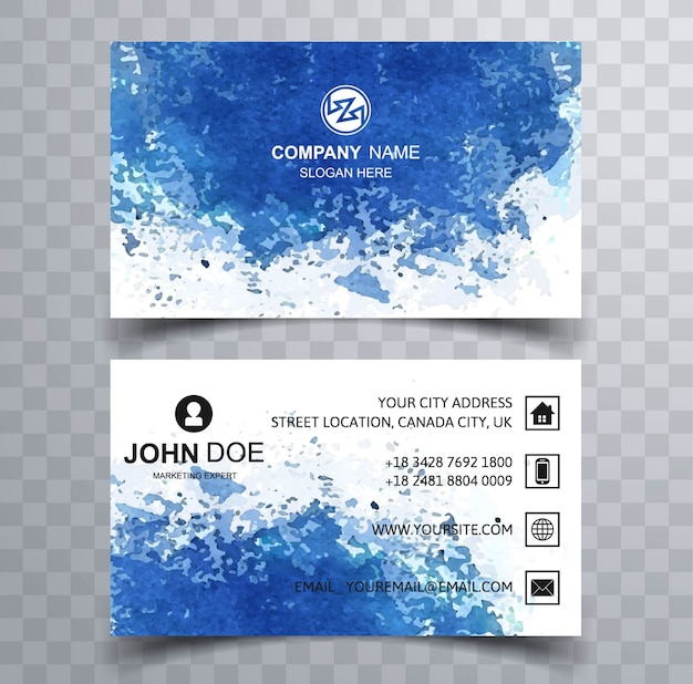 Modern business card with blue water concept vector free download modern business card with blue water concept free vector colourmoves