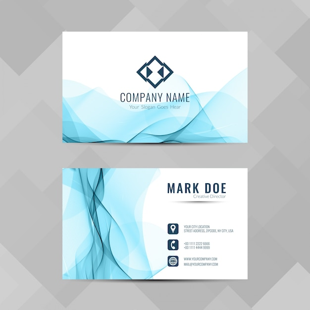 Modern business card with blue wavy shapes vector free download modern business card with blue wavy shapes free vector colourmoves