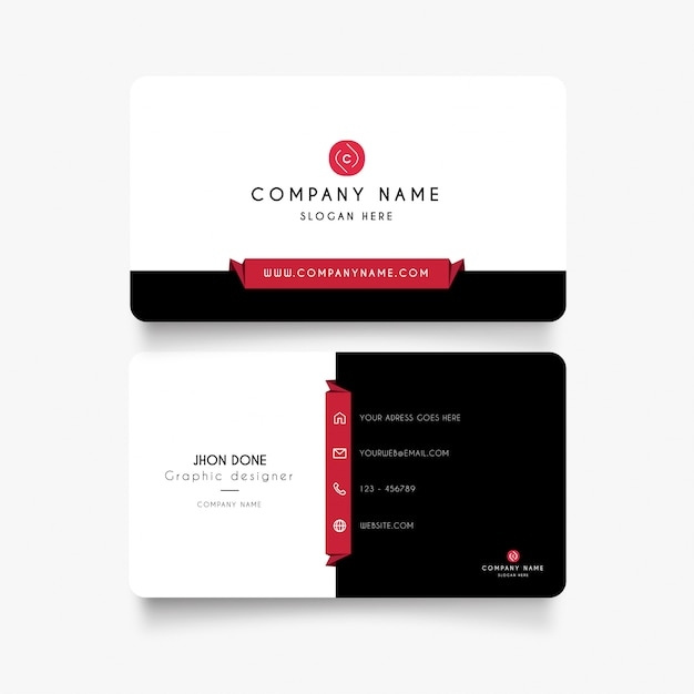 Modern business card with clean Free Vector