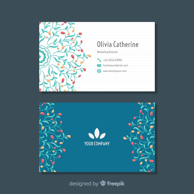 Modern business card with floral design Free Vector