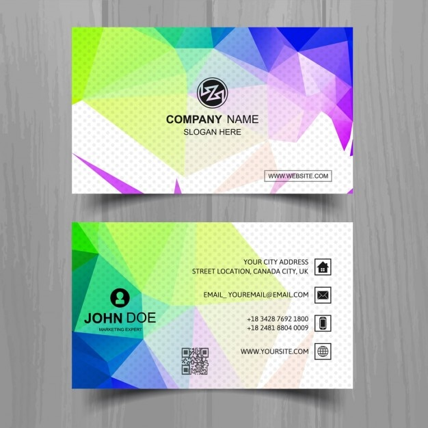 Modern business card with full color polygonal shapes vector free modern business card with full color polygonal shapes free vector reheart Choice Image