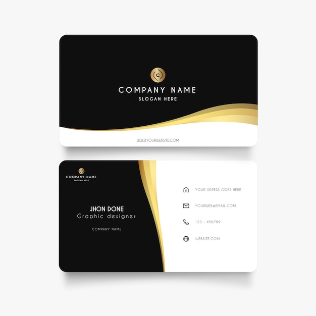 Modern business card with gold wave Free Vector
