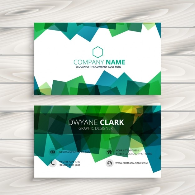 Modern business card with green abstract shapes