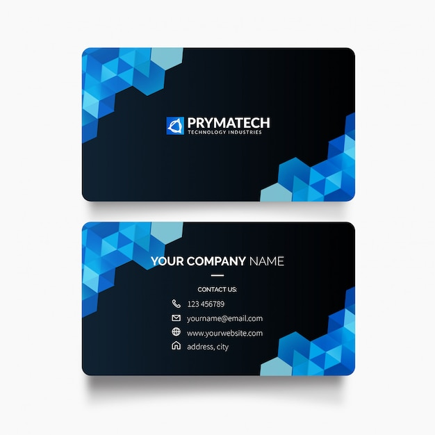 Modern business card with hexagon shapes Free Vector
