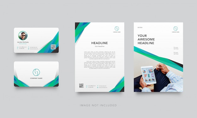 Modern business card with letterhead template Premium Vector