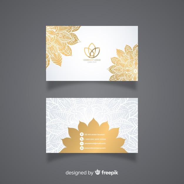 Modern business card with mandala Free Vector