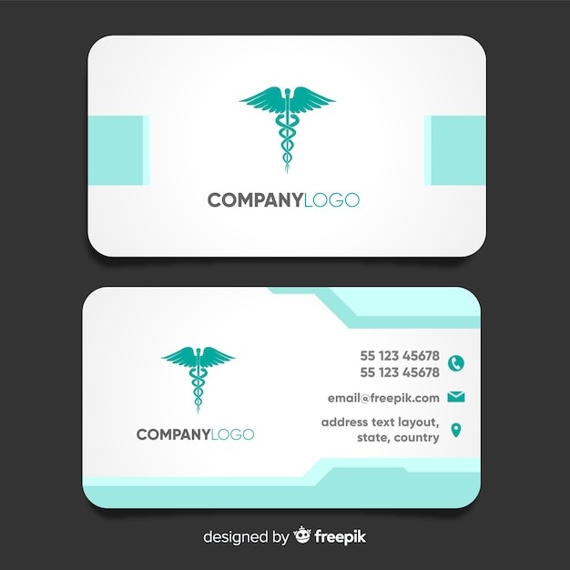 Modern business card with medical concept Free Vector