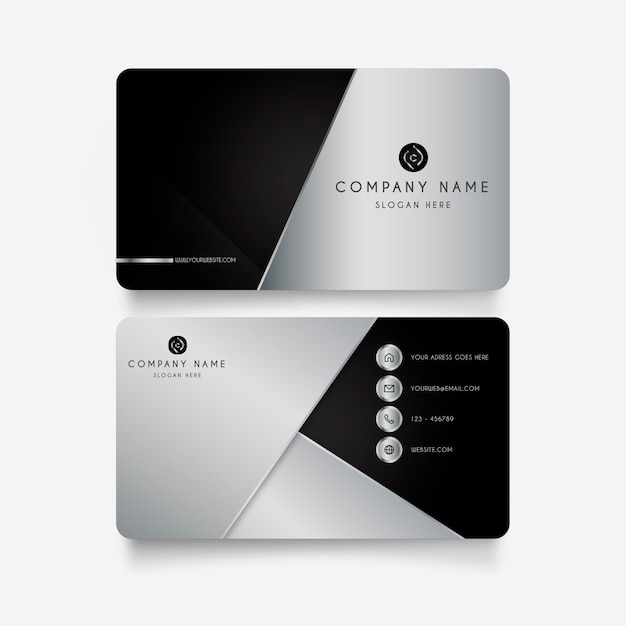 Modern business card with metal shapes Free Vector