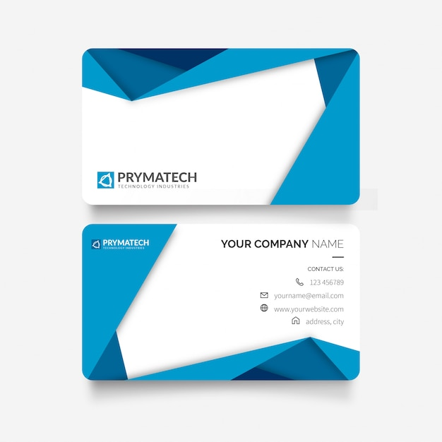 Modern business card with papercut shapes Free Vector