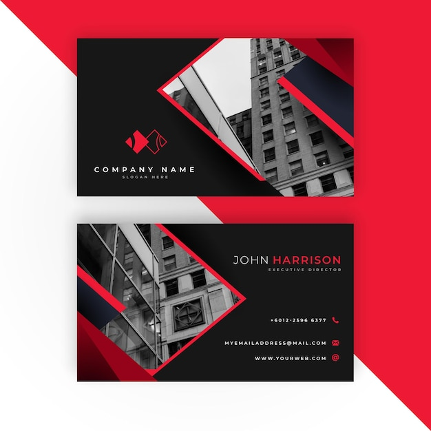 Modern business card with photo Free Vector