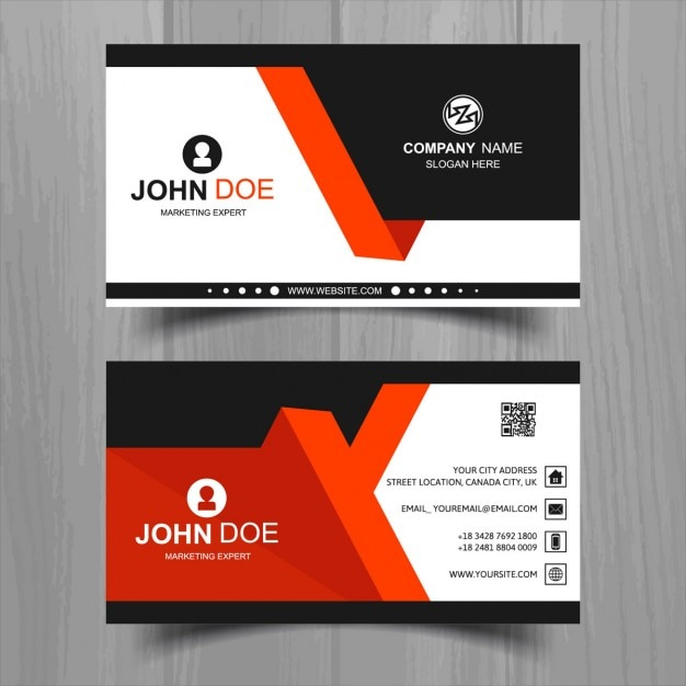 Modern business card with red and black geometric shapes ...