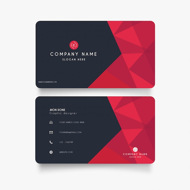 Modern business card with red shapes Free Vector