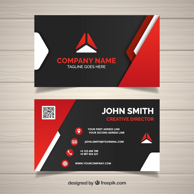 Modern business card with red shapes vector free download modern business card with red shapes free vector reheart Gallery