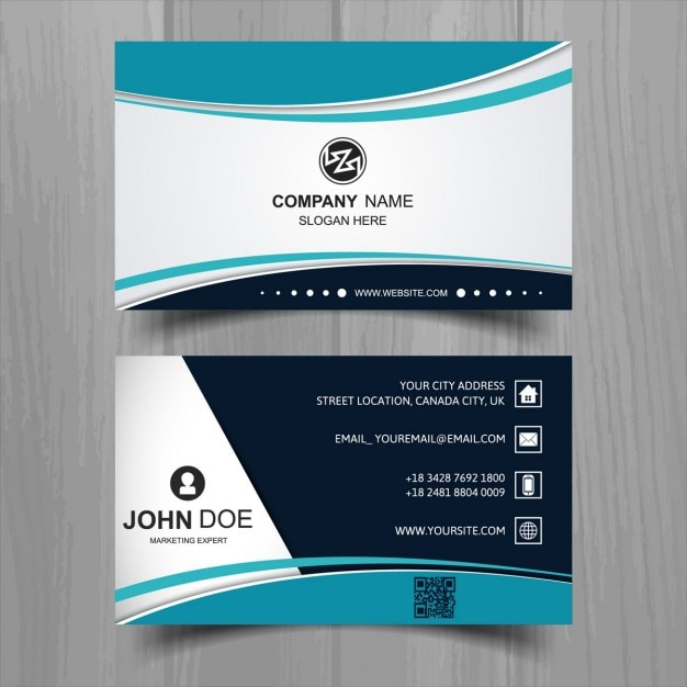 Modern business card with turquoise wavy shapes Free Vector
