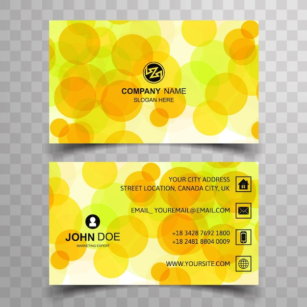 Modern business card with yellow circles