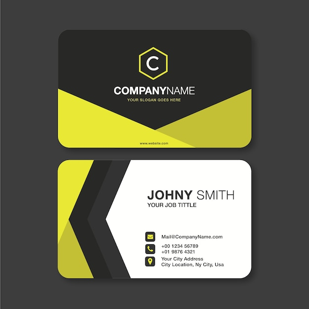 Modern business card in yellow Premium Vector