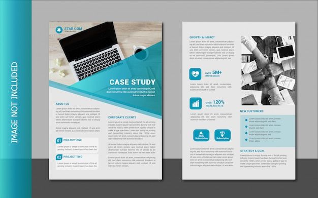 Modern business case study template design Premium Vector