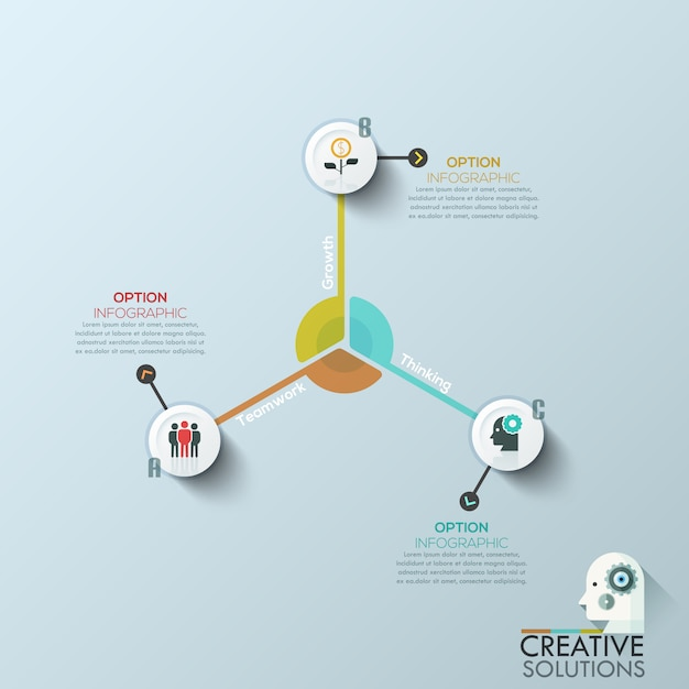 Modern business circle origami style options banner Premium Vector