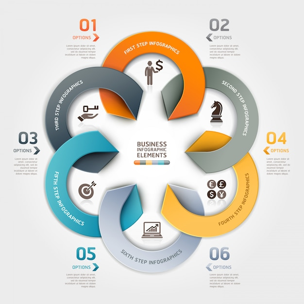 Modern business circle origami style options infographic. Premium Vector