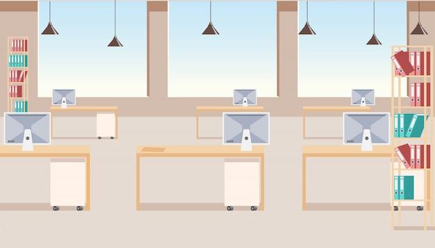 Modern business company office interior vector Premium Vector