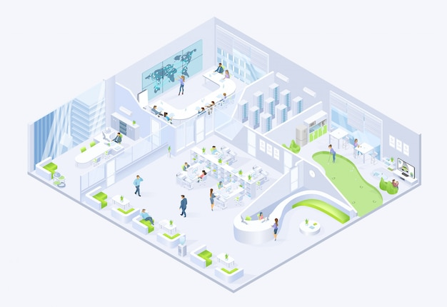 Modern business company office isometric vector Premium Vector