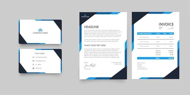 Пакет канцелярских товаров modern business company с фирменным бланком и счетом-фактурой с абстрактными синими фигурами Бесплатные векторы
