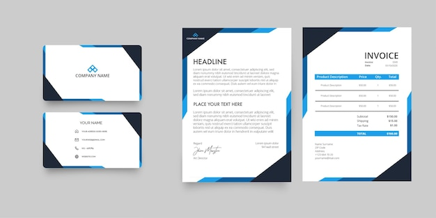 Modern business company stationery pack with letterhead and invoice with abstract blue shapes Free Vector