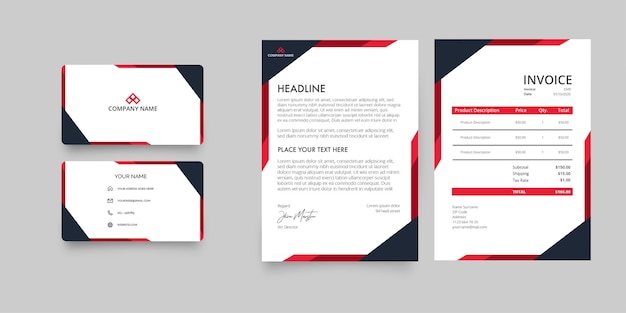 Modern business company stationery pack with letterhead and invoice with abstract red shapes Free Vector