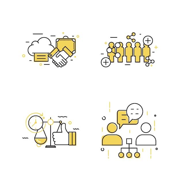Современный бизнес концепции дизайна иконок Premium векторы